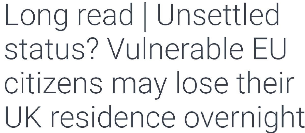 Unsettled Status Blog